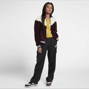 Nike Sherpa Faux Fur Bomber Jacket women's Size L